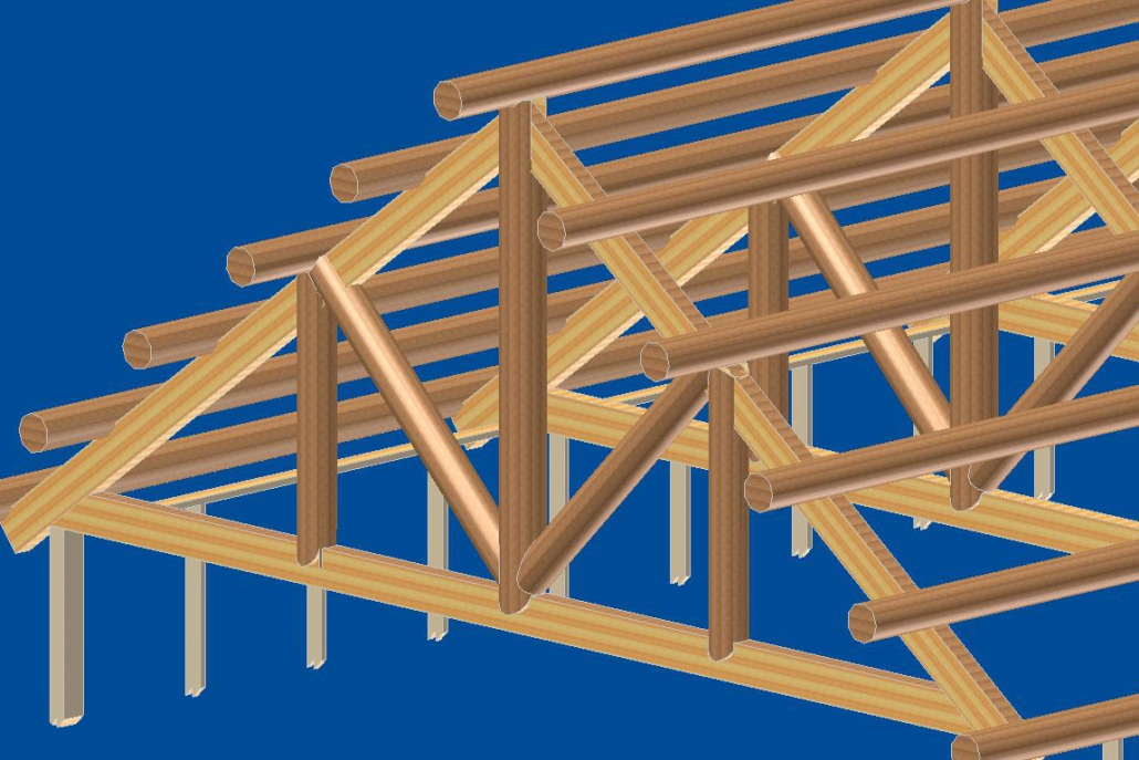 3d drawing of roof system made of log and laminate beams