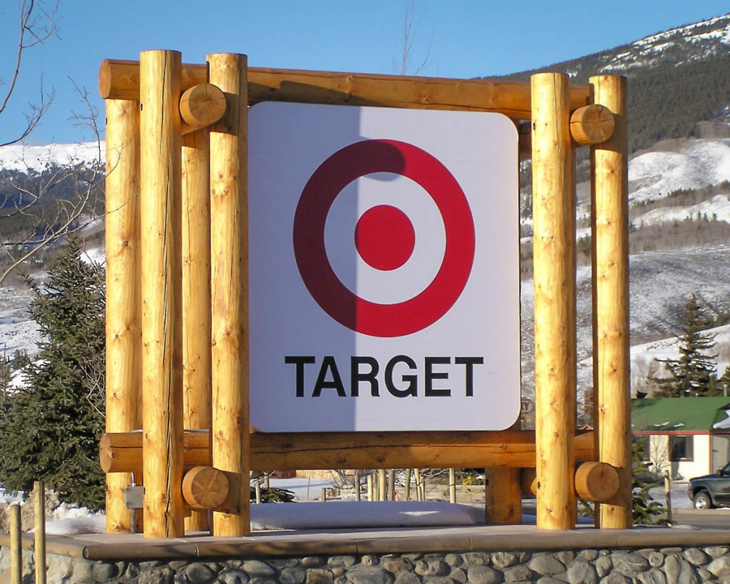 log sign frame for target store in colorado