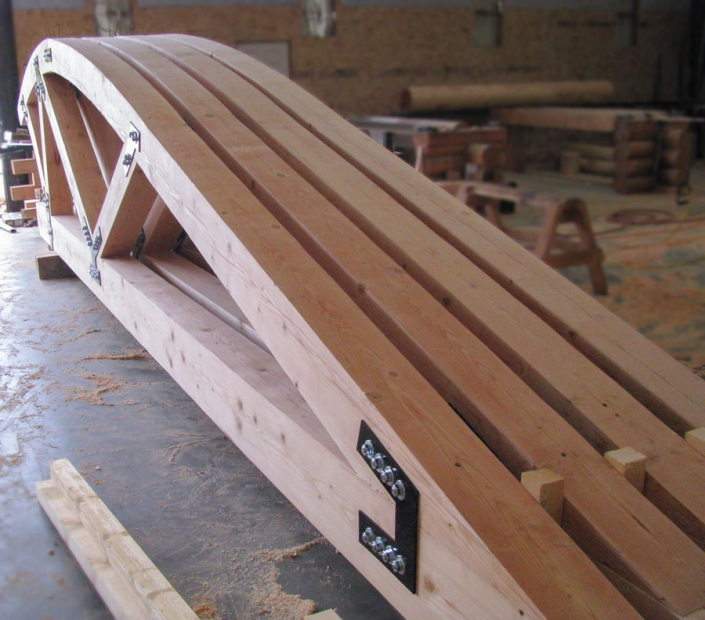 curved timber truss with external steel plate connectors