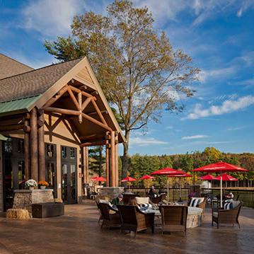 restaurant exterior showing log truss entry