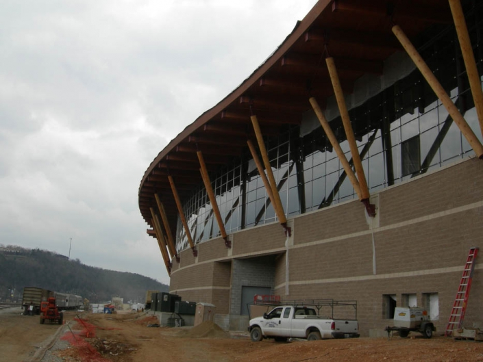 big timber posts on exterior of branson convention center