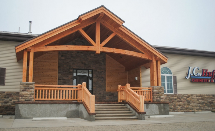 exterior of business with timber covered entry