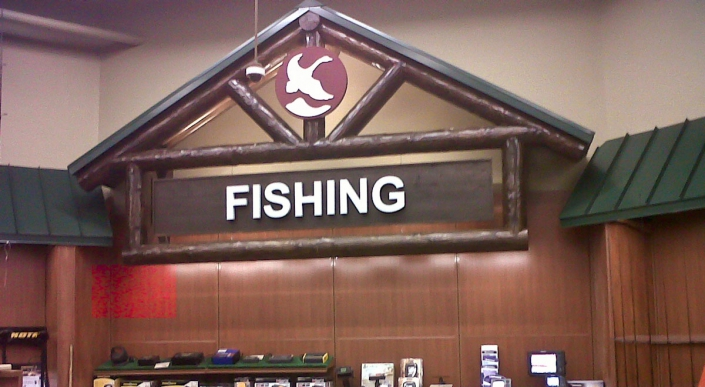 timber frame fishing sign inside outdoor sports store