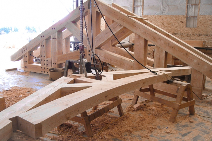 timber truss being plugged to hide hardware