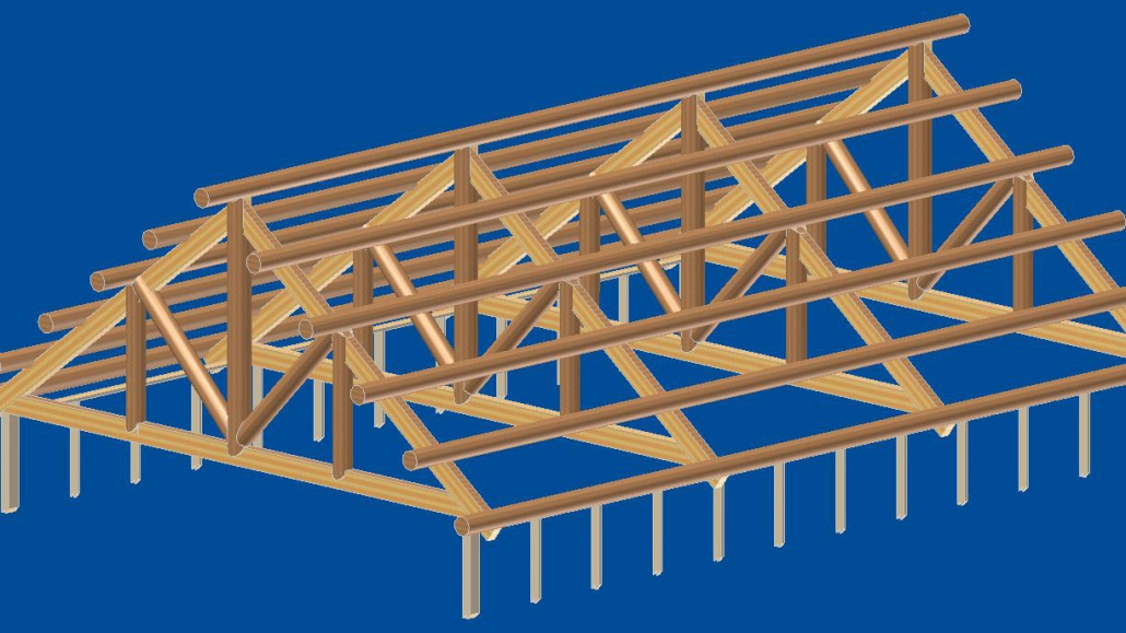 3d rendering of log truss roof system