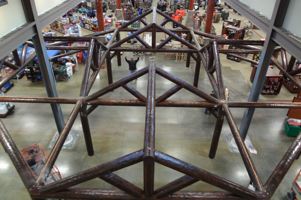 post and beam structure inside cabelas