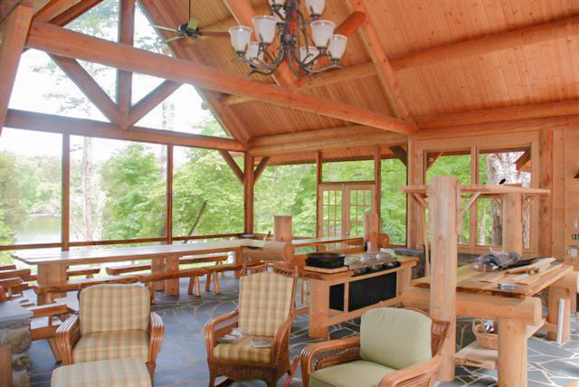 post and beam lake house screened porch