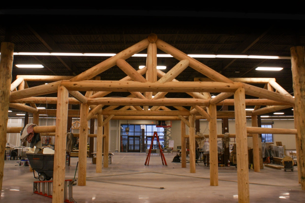 post and beam structure inside cabelas outdoor sports store