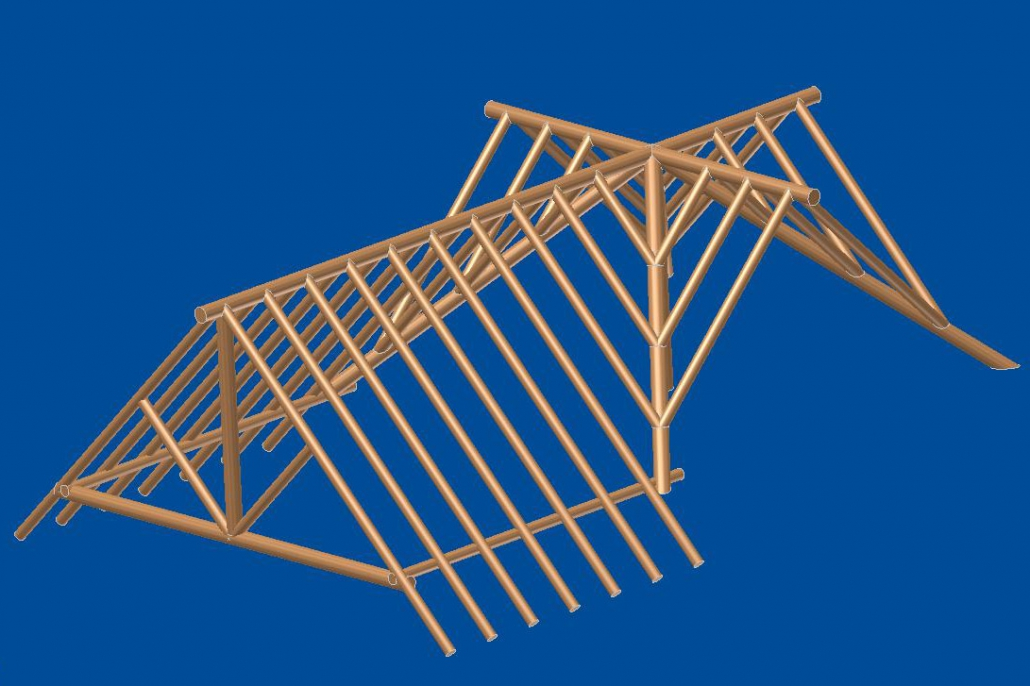 3d engineering drawing of log rafter system