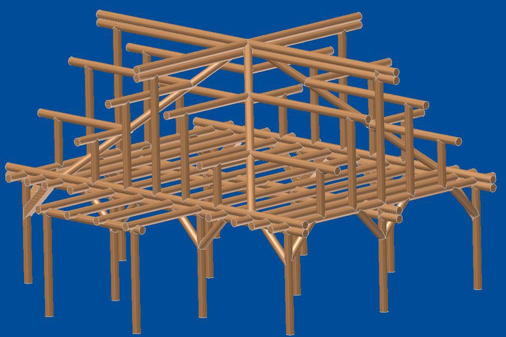 3d drawing of purlin post and beam structure